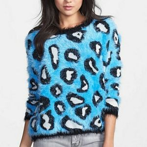 RAGA Leopard Print Eyelash Sweater SZ Small
